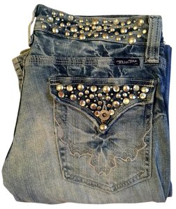 Miss Me Studded Crystal Extra-long Boot Cut Jeans