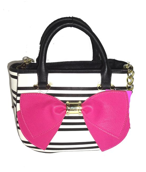 Item - Rope Chain /Fuchsia Bow /Bone/Black Stripe / Cross Body Medium Bone/Black Faux Leather Satchel