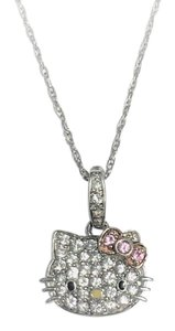 Hello Kitty Hello Kitty Sterling Silver Crystal Pendant Necklace