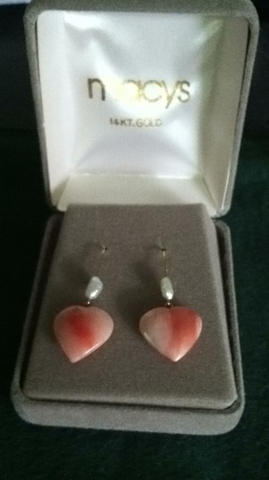 Macy's Pair of 14kt gold Coral & Freshwater Pearl Earrings