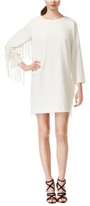 Kensie Fringe Shift Longsleeve Boat Neck Lined Dress