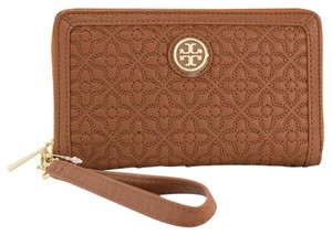 Tory Burch Leather Phone Case Bryant Wallet Style # 34030 Wristlet in Luggage