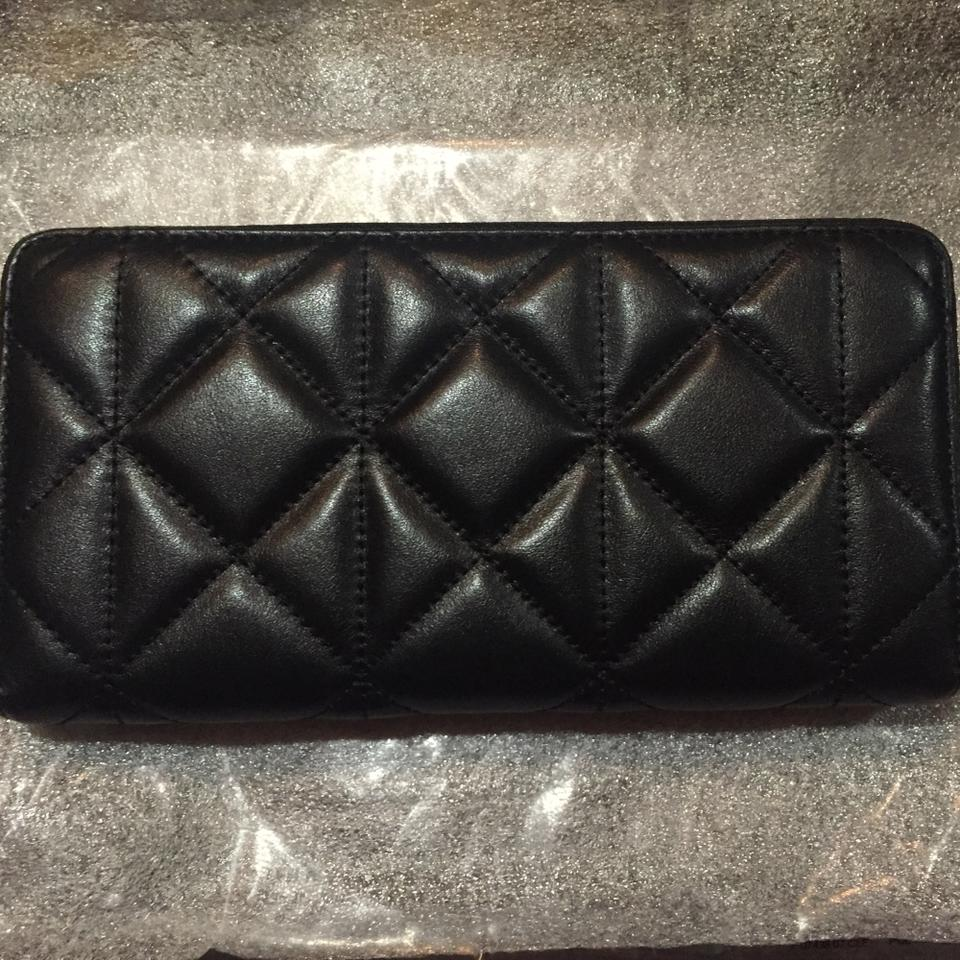best service b437f dfe77 Coach Imitation Gold/Black *new* Accordion Zip In Quilted Leather Wallet  66% off retail