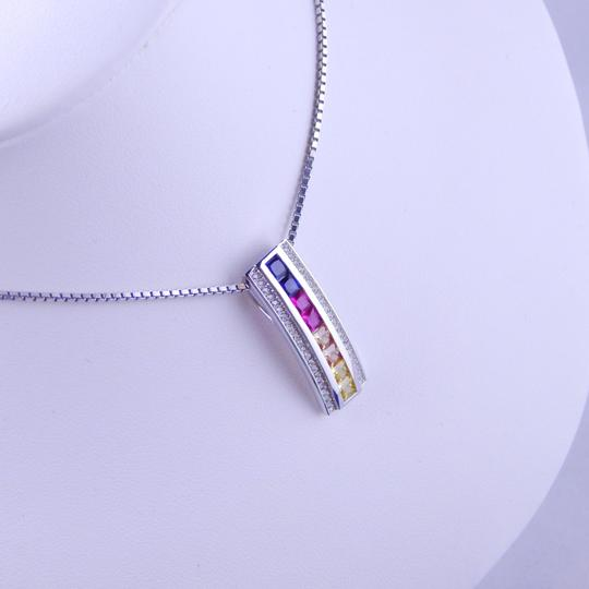 Custom-Made RAINBOW SAPPHIRE SINGLE ROW PENDANT 3 x 3mm PRINCESS CUT CHANNEL SET w/CZ ACCENTS STERLING SILVER