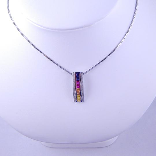 Custom-Made RAINBOW SAPPHIRE SINGLE ROW PENDANT 3 x 3mm PRINCESS CUT CHANNEL SET w/CZ ACCENTS STERLING SILVER Image 2