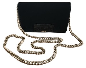 Miu Miu Velvet Patent Leather Chain Bow Cross Body Bag