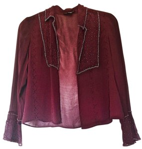 Spenser Jeremy Glass Beads Tone On Tone Embroidered Dressy Top Burgundy