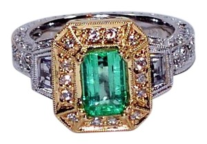 LeVian LeVian 3.50tcw Colombian Emerald & Diamond 14kt Two Tone Gold Ring