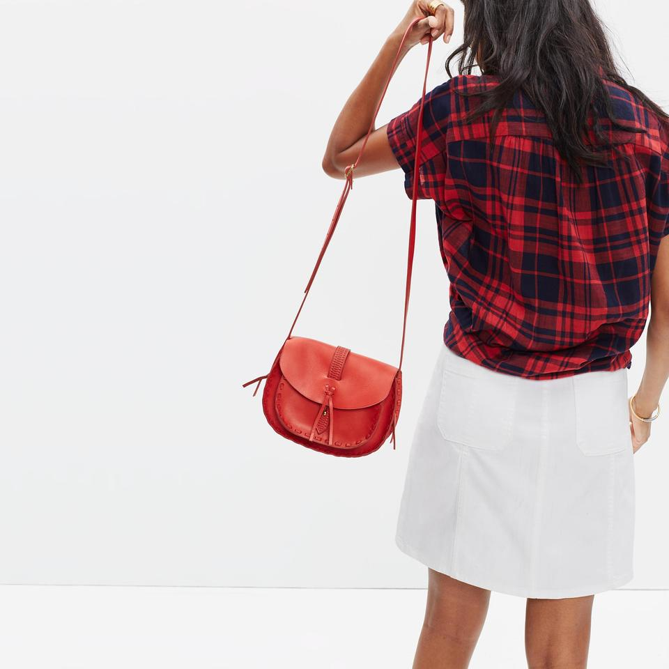 fa946109f619 Madewell Asheville Saddle Shoulder Red Leather Cross Body Bag - Tradesy