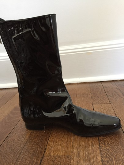 Manolo Blahnik black patent leather Boots