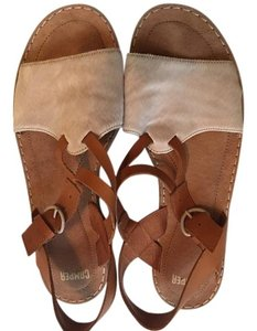 Camper Leather Mohair Cream and Tan Sandals