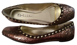 Nicole Miller N By Studded Brown Glitter Flats