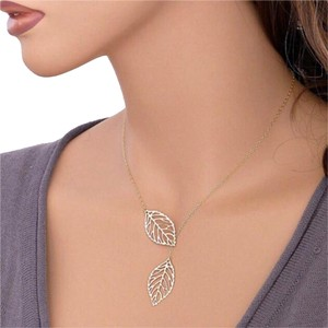 Other Double Leaf Lariat Style Necklace
