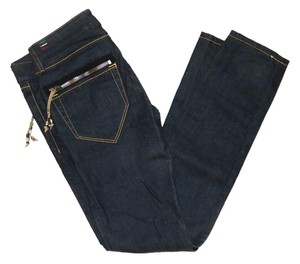 Diesel Denim Wash Leather Skinny Jeans-Dark Rinse