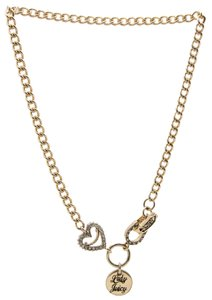 Juicy Couture New Juicy Couture Rhinestone Heart Luck Love Chain Necklace