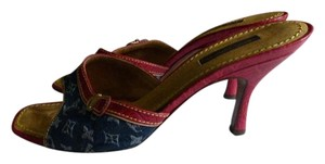 Louis Vuitton RED LEATHER & DENIM Mules