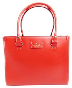 Kate Spade Leather Wellesley Quinn Handbag Tote in Red