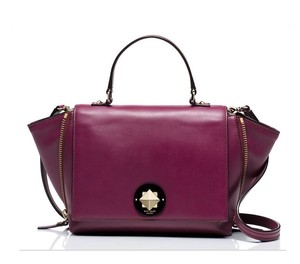 Kate Spade Leather Satchel in Moody Plum