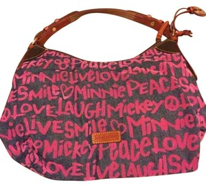 Dooney & Bourke Mickey Minnie Satchel Graffiti Denim Shoulder Bag