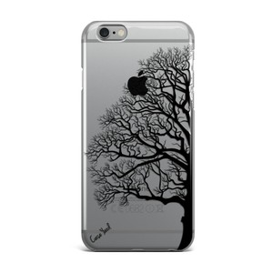 Case Yard NEW Clear Plastic IPhone Case with Black Half Tree Design, Size 6/6s