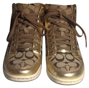 Coach Metallic Gold leather brown Wedges