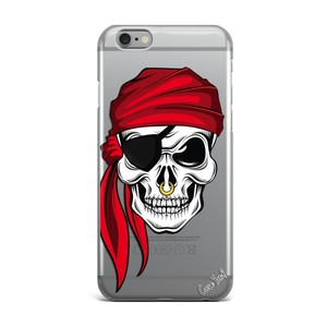 Case Yard NEW Clear Plastic IPhone Case with Pirate Skull, Size 7
