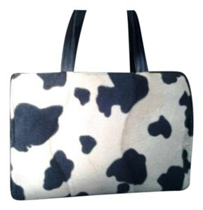 Amanda Smith Classic Vintage Style Faux Fur Unique Cow Print Shoulder Bag