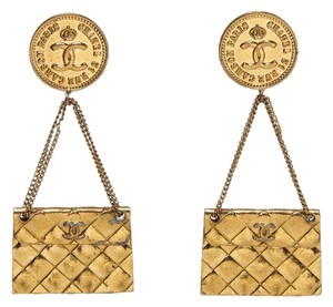 Chanel Chanel Gold Clip On CC Logo Purse Bag Earrings Vintage (1992)