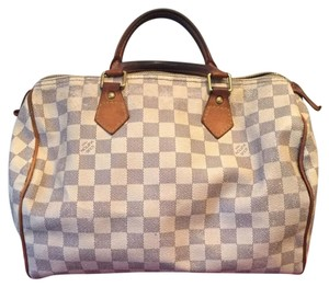 Louis Vuitton Neverfull Speedy Satchel in Damier Azur White