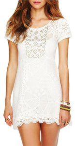 Free People short dress White Multi Bohemian Embroidered Sheer Floral Mini on Tradesy