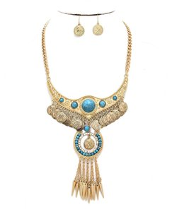 Other Crystal Accent Boho Tribal Spike Turquoise Stone Gold Necklace Bib Collar Pendant Earring Set