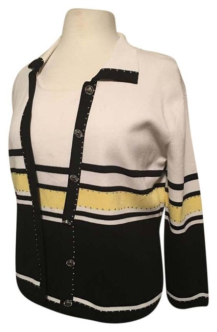 Item - 2 Piece Collar Clear Buttons with Gold Center Silver Embellishment White/Black Sweater