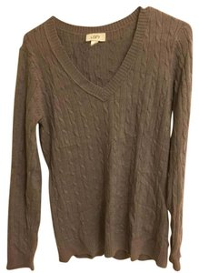 Ann Taylor LOFT V Neck Cable Knit Large Sweater