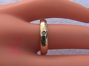 10k Yellow Gold 0.007 Cts Diamond Band Ring #8