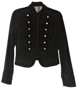 Other Velvet Brass Buttons Military Style Fitted Structured Military Jacket