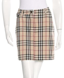Burberry Nova Check Plaid Monogram Skirt Beige, Black, Red