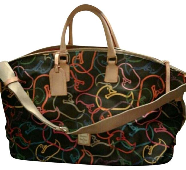 Item - Duffle And Duck Prints Large Multicolor Leather Weekend/Travel Bag