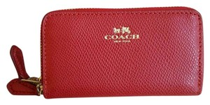 Coach Small Double Zip Coin Case in Crossgrain Leather in True Red