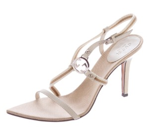 Gucci Strappy Gg Pointed Toe Silver Hardware Beige, Ivory Sandals