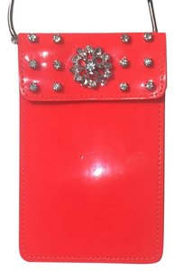 H&M Neon Rhinestones Studded Small Wristlet in Neon Orange