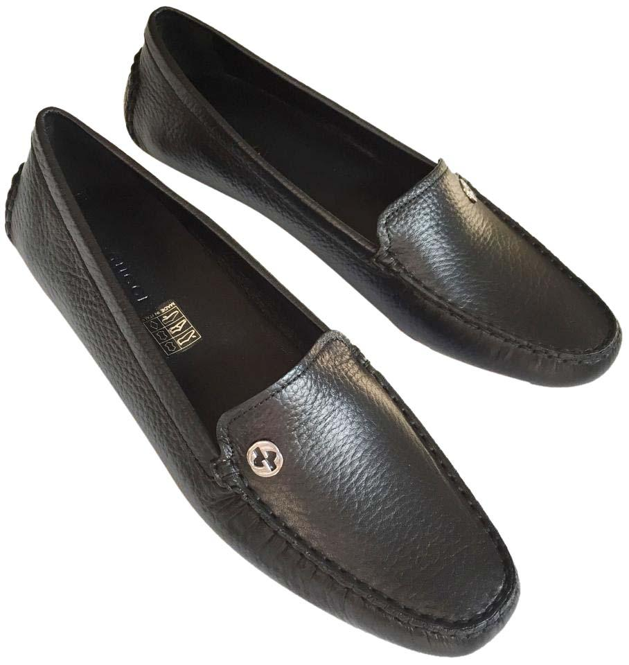 376a44bcf04 Gucci Black Silver Women s Loafer Driving Moccasin Leather Flats ...