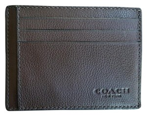 Coach Mahogany Brown Leather ID card Case Wallet F75022