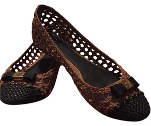 Tory Burch Classic Woven Gold Hardware Leather Tan/Black Flats
