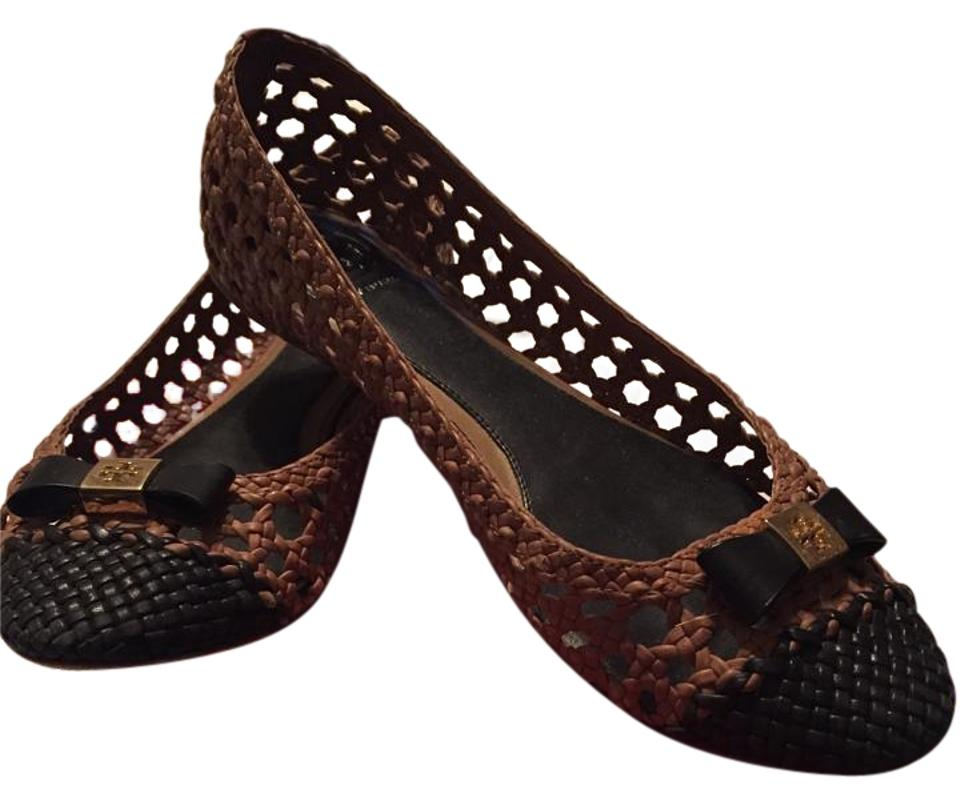 f2084d011 Tory Burch Classic Woven Gold Hardware Leather Tan Black Flats ...