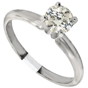 ABC Jewelry 14kt White Gold Solitaire Size 7 Set With One Genuine Brilliant Cut Diamond Weighing .70ct