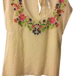 LC Lauren Conrad Top Cream with floral embroidery