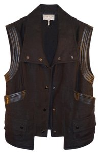 Sandro Leather Linen Paris Dryclean Only Big Collar Vest