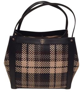 Tory Burch Woven Leather Plaid Multicolor New Satchel in Navy Plaid