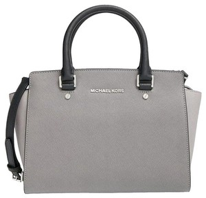 Michael Kors Mk Mk Grey Saffiano Leather Selma Satchel in Steel/Pearl Grey/Black with Silver hardware