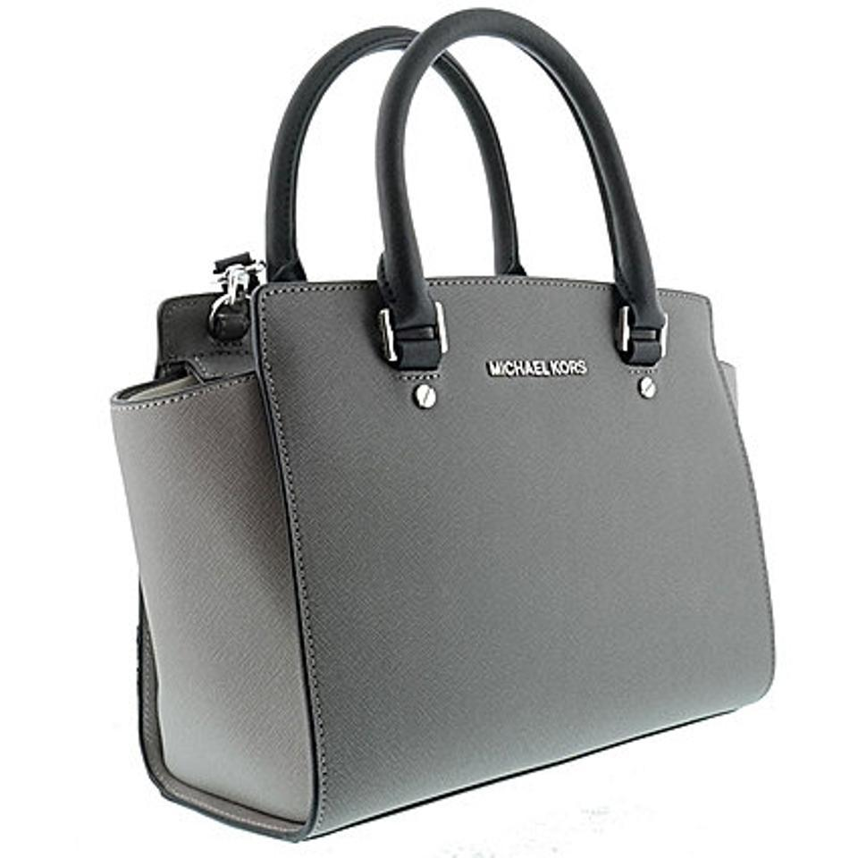 737c58ef3786e Michael Kors Mk Saffiano Leather Purse Selma Satchel in Steel Pearl  Grey Black with. 12345678910